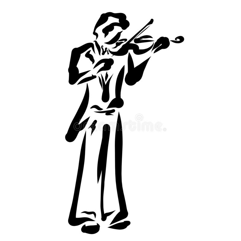 Violinist, abstract image of a musician with a violin and bow vector illustration