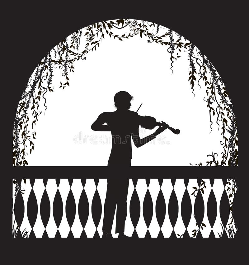 Violinist in the arch balcony with curl vines and plant, romantic melody character, silhouette, shadows, stock illustration