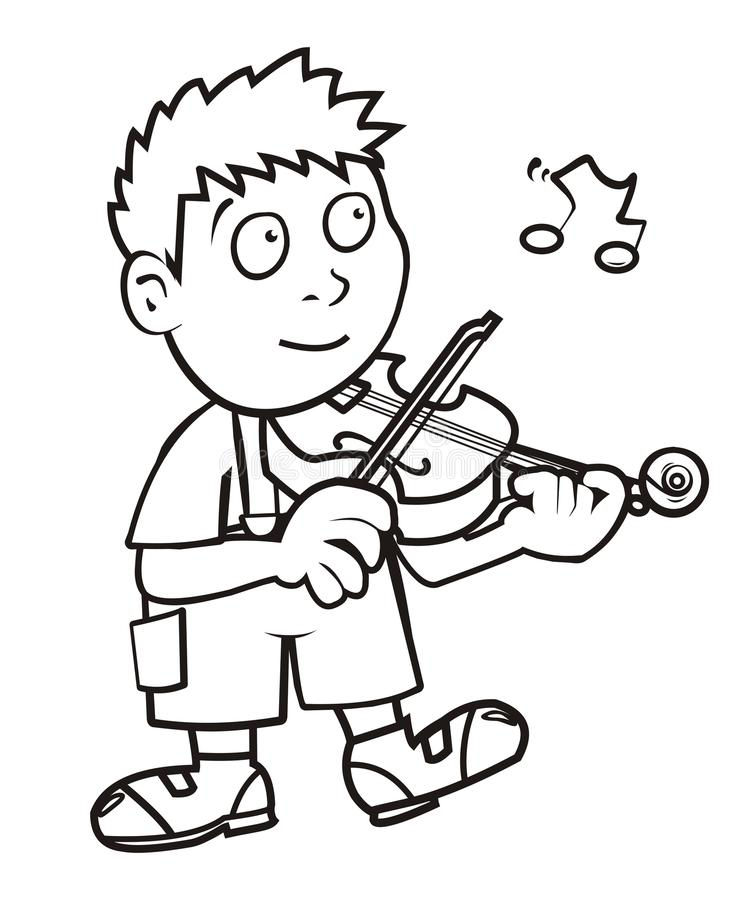 Violinist, coloring book. Humorous illustration vector illustration