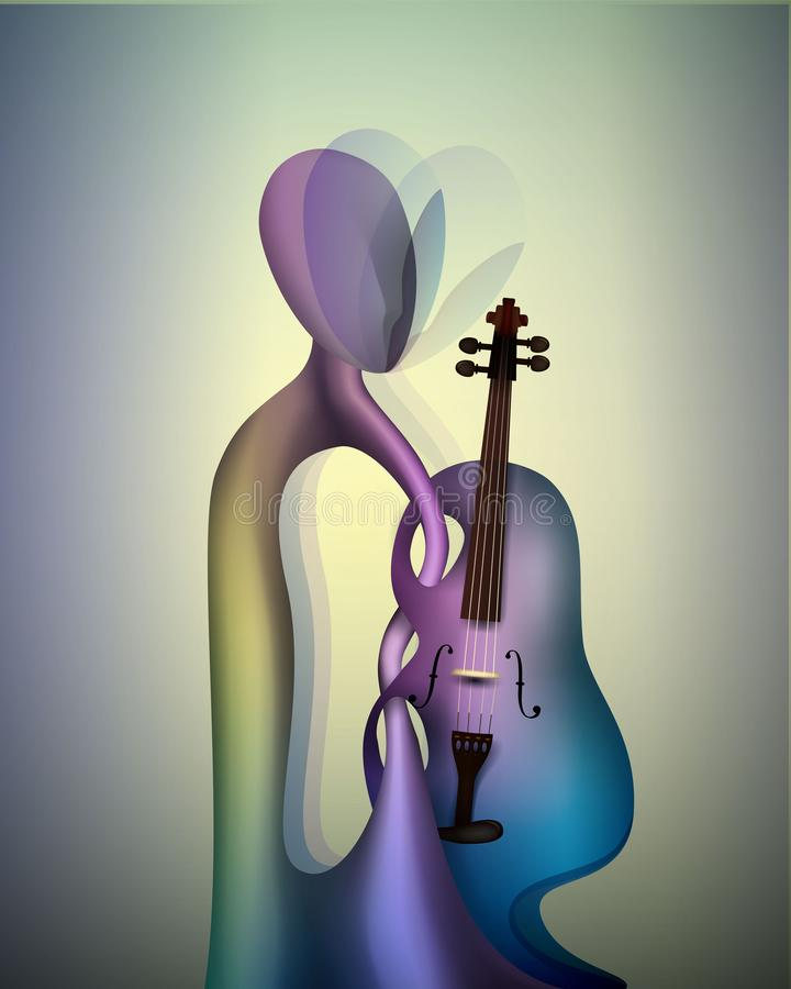 Violinist concept, musician and violin contemporary art, man and music surrealism shapes, abstract violinist. Vector stock illustration