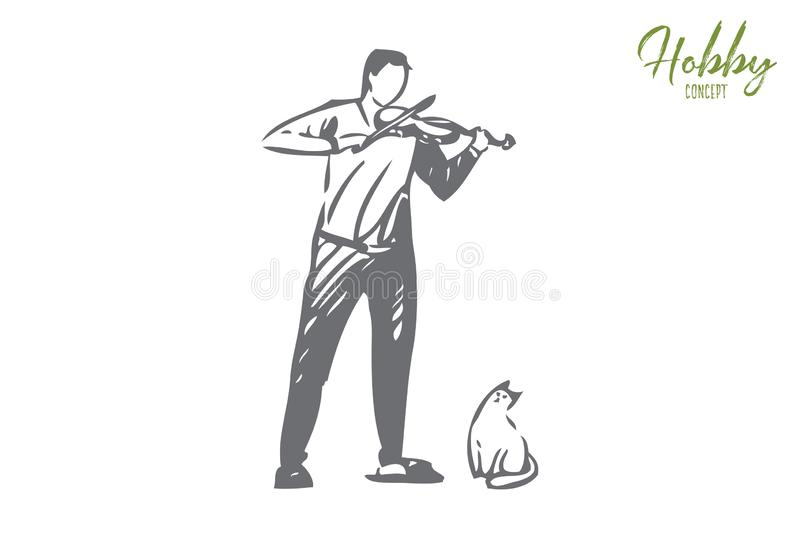 Violinist concept sketch. Isolated vector illustration. Violinist concept sketch. Man playing violin. Amateur classical musician, Funny cute cat. Creating music stock illustration