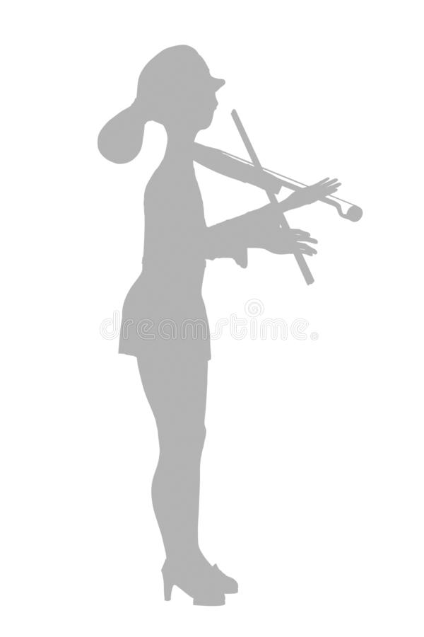 Violinist in dress. Illustration silhouette on a white background vector illustration