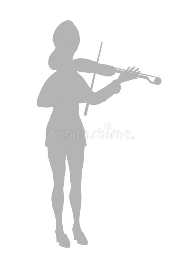Violinist in dress. Illustration silhouette on a white background stock illustration