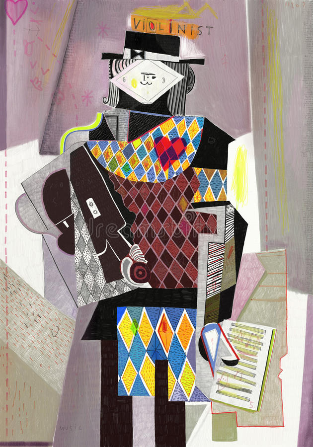 Violinist. Figure which depicts a violinist in the style of abstraction stock illustration