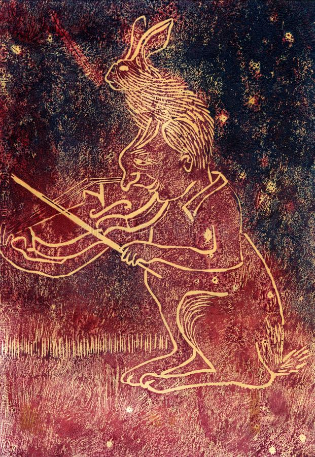 Violinist and hare. Abstract violinist with hare on his head, inspired by Chagall.Oil printed rubber engraving vector illustration