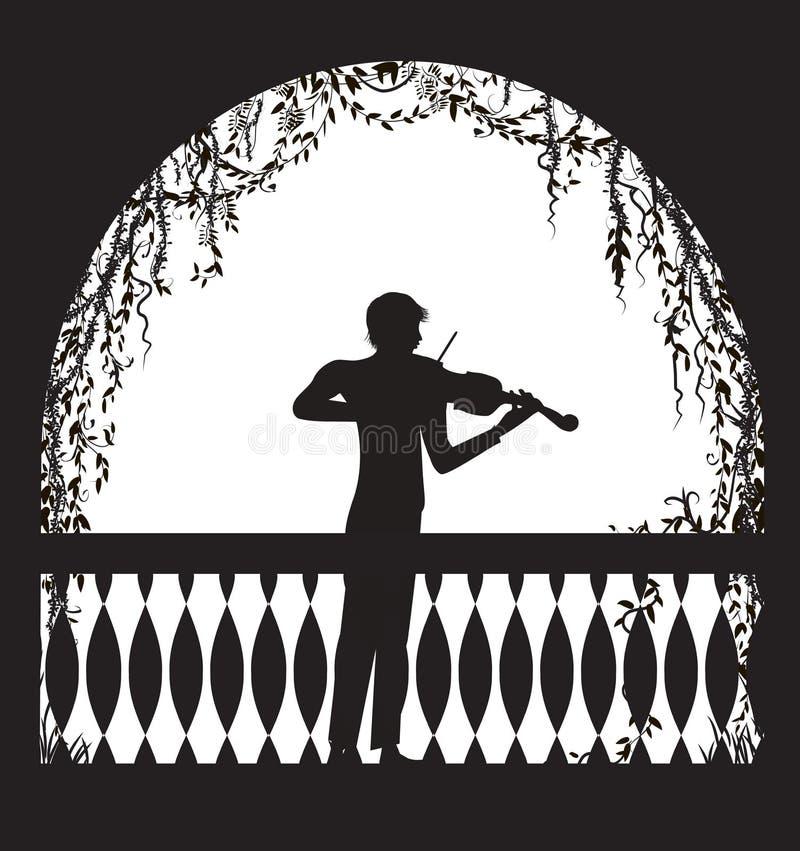 Violinist i den ärke- balkongen med krullningsvinrankor och växten, romantiskt meloditecken, kontur, skuggor, stock illustrationer