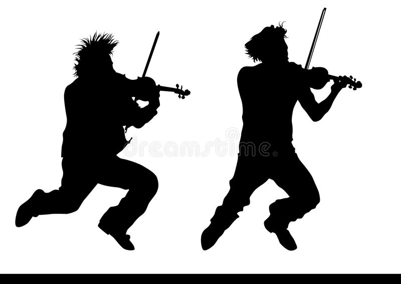 Violinist jump. Drawing a violinist playing at a concert stock illustration