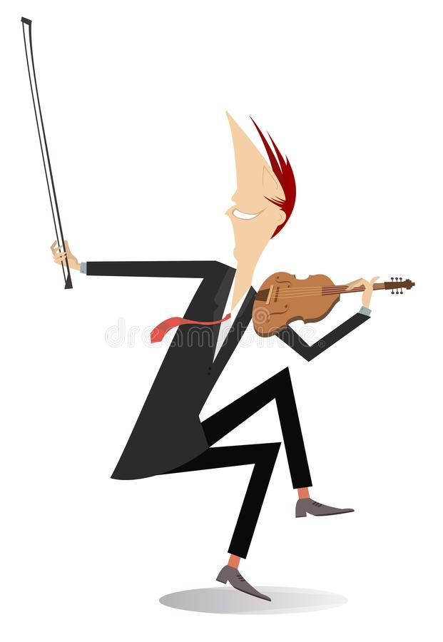Violinist man illustration. Violinist man is playing music with inspiration isolated on white stock illustration