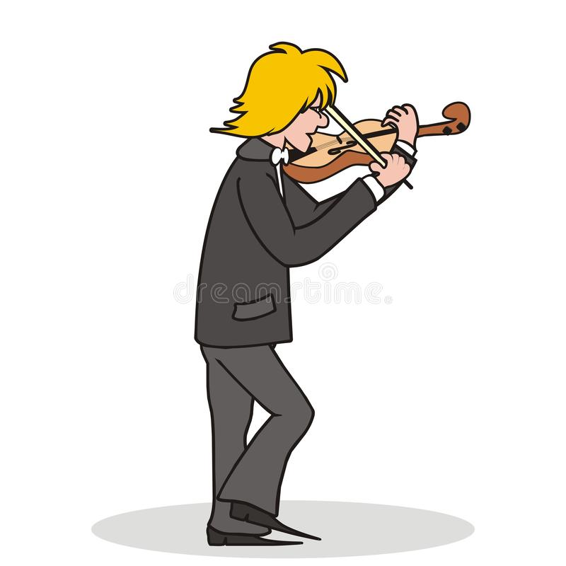 Violinist. Man playing the violin. Cartoon violinist. Humorous picture royalty free illustration