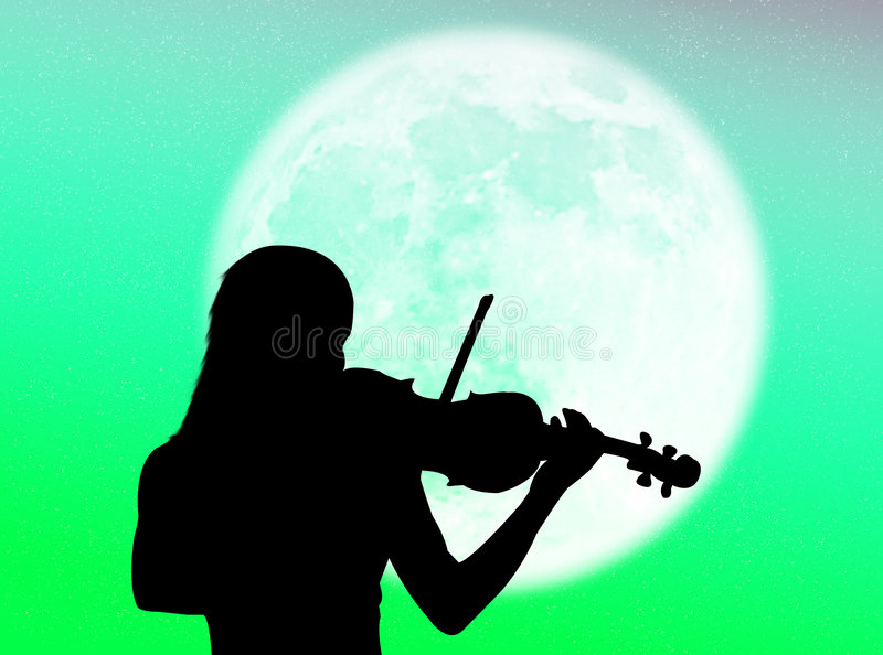 Download Violinist in the moon stock illustration. Illustration of frequency - 7559388