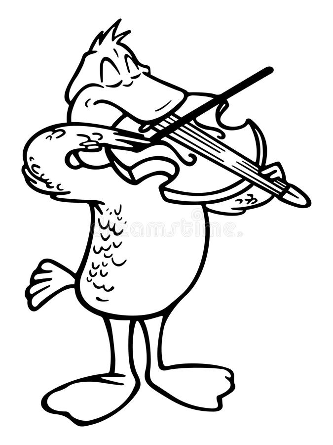 Violinist pelican. Cartoon outline illustration of a pelican violinist royalty free illustration