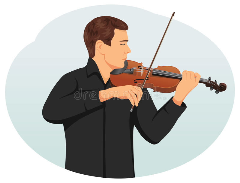 Violinist. Is playing classical violin. Fiddler on the stage. Traditional culture vector illustration