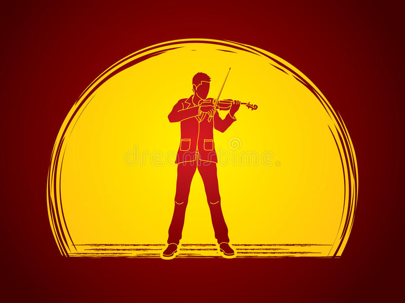 Violinist. Playing violin designed on moonlight background graphic vector stock illustration