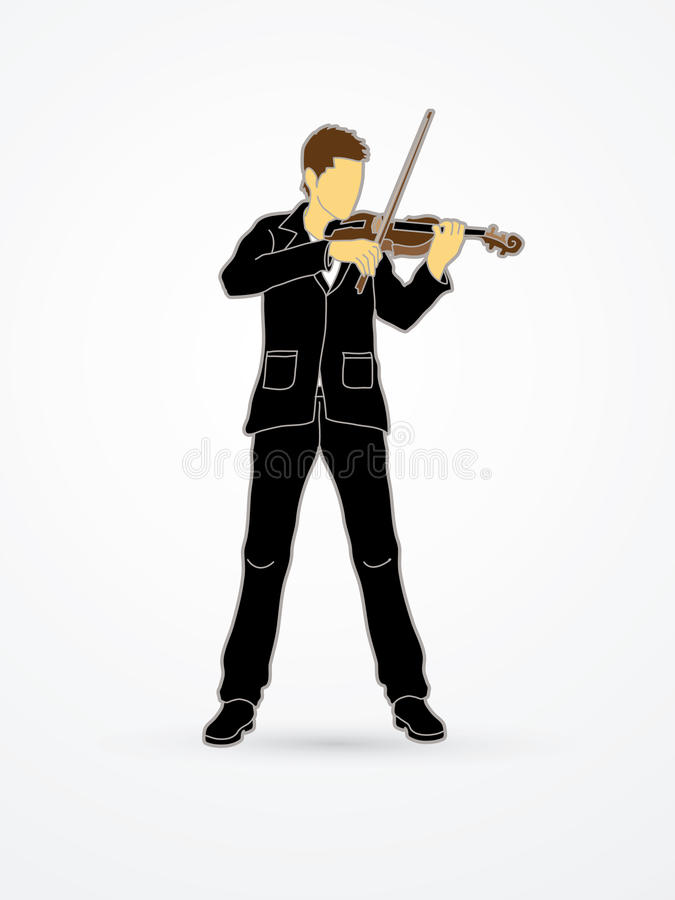 Violinist. Playing violin graphic vector stock illustration