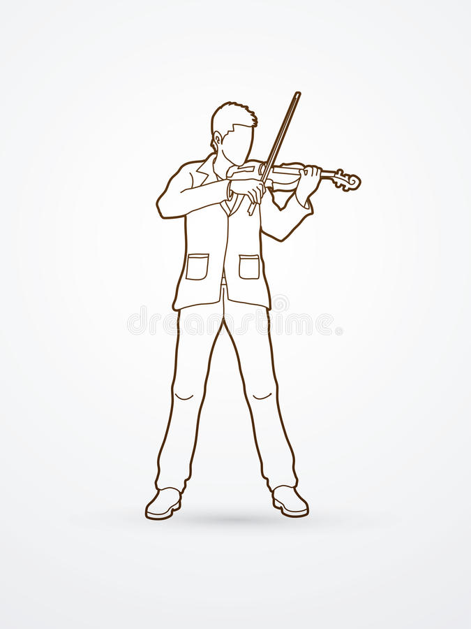 Violinist. Playing violin outline graphic vector stock illustration