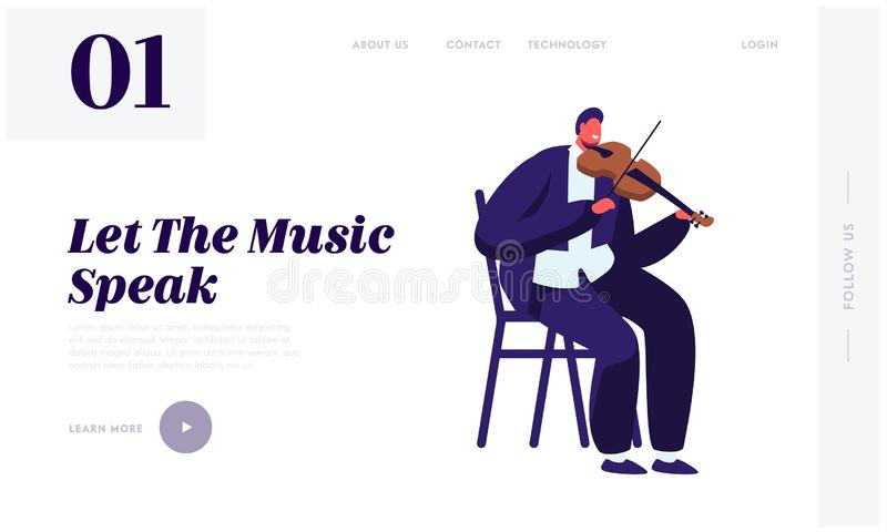 Violinist Playing on Violin Website Landing Page, Artist Practicing Music. Male Musician Character with Classic Instrument. Preparing for Concert Web Page vector illustration