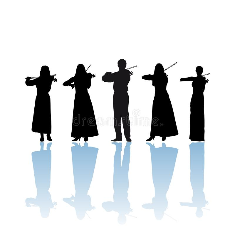 Violinist quintet. Silhouette, illustration stock illustration