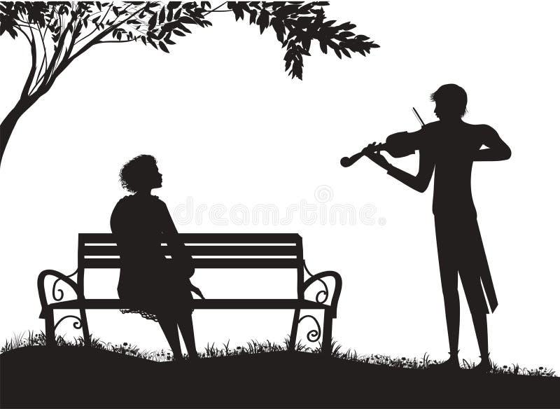 Violinist spielt für s-Mädchen, das auf s-Bank unter s-Baum, romantische Musik sitzt stock abbildung
