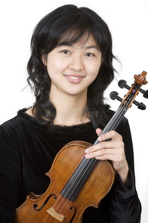 Violinista asiático 1 fotografia de stock royalty free