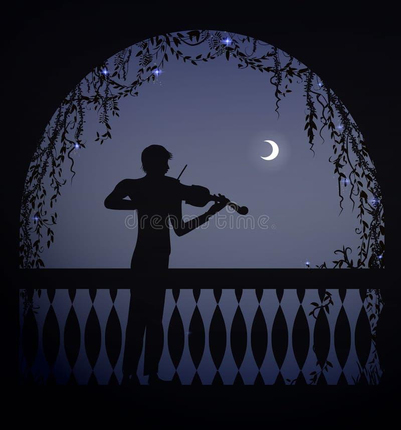 Violinista no arco de um balcão na noite escura romântica, caráter romântico da melodia, silhueta, sombras, ilustração stock