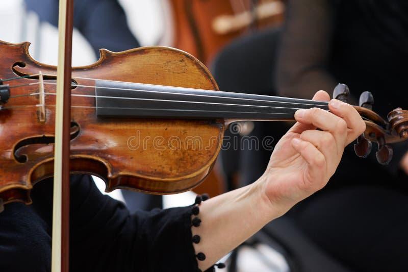 Violinista Playing Classical Violin das mulheres foto de stock