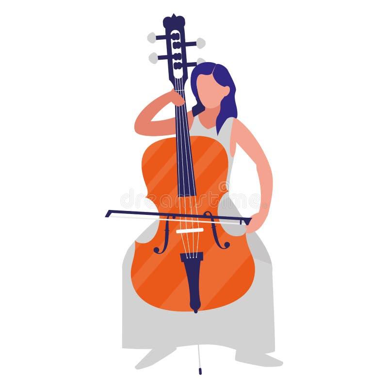 Violinista que joga o caráter do violoncelo ilustração royalty free