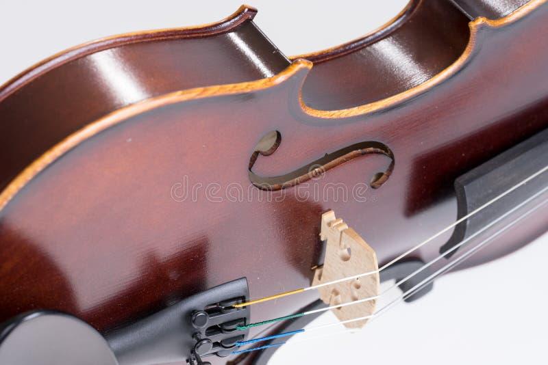 Violino cl?ssico isolado no fundo branco Est?dio disparado do violino velho fotografia de stock