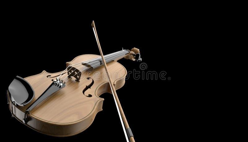Violino com os instrumentos musicais clássicos da curva do close up isolados no fundo preto ilustração do vetor
