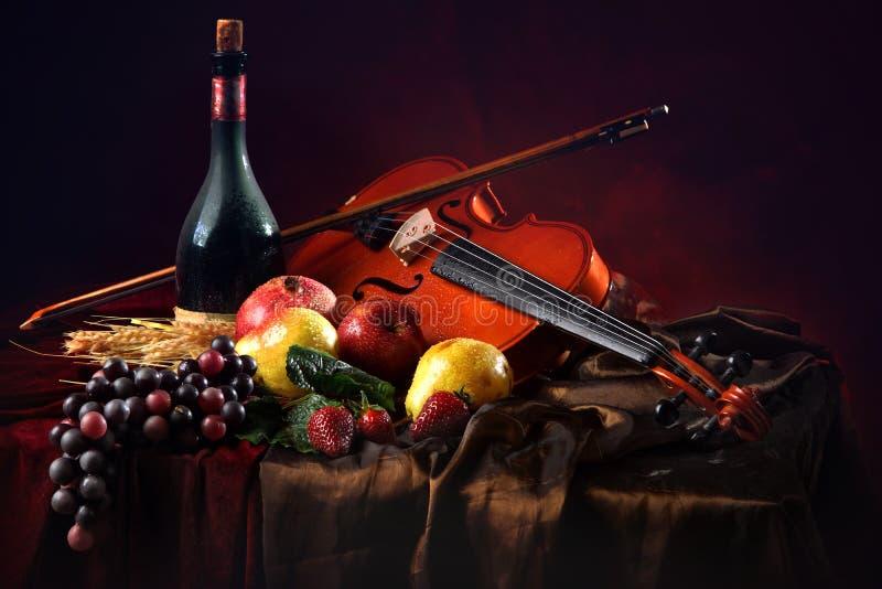 Violino com uma curva em um fundo vermelho ao lado de uma garrafa do vinho velho e do fruto molhado fotos de stock royalty free