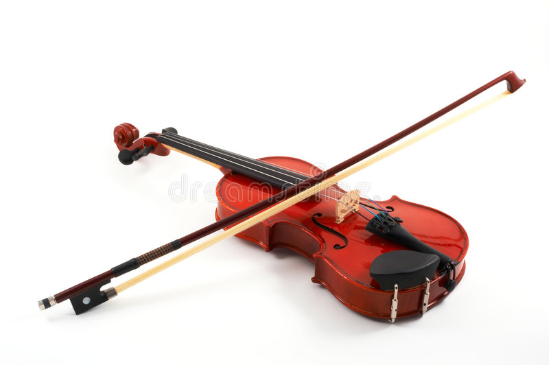 Violino con l'arco su backg bianco fotografie stock libere da diritti