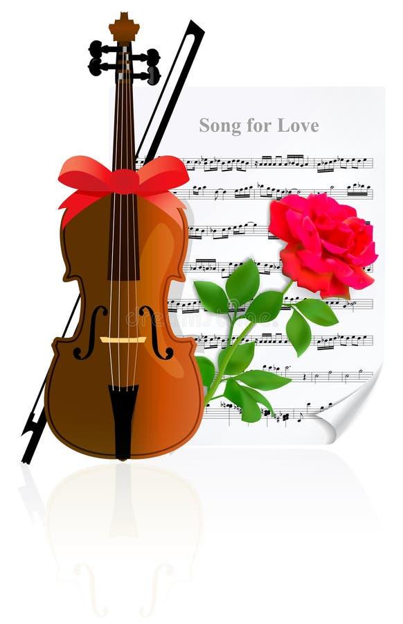 Violino con Rosa illustrazione di stock