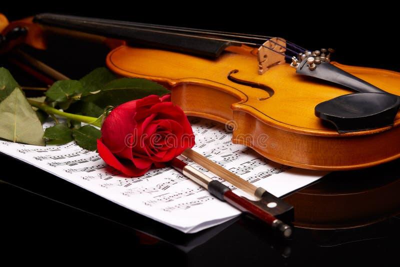 Violino, cor-de-rosa e notas imagens de stock