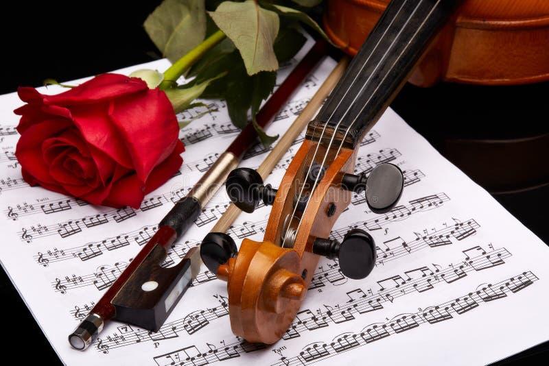 Violino, cor-de-rosa e notas imagem de stock