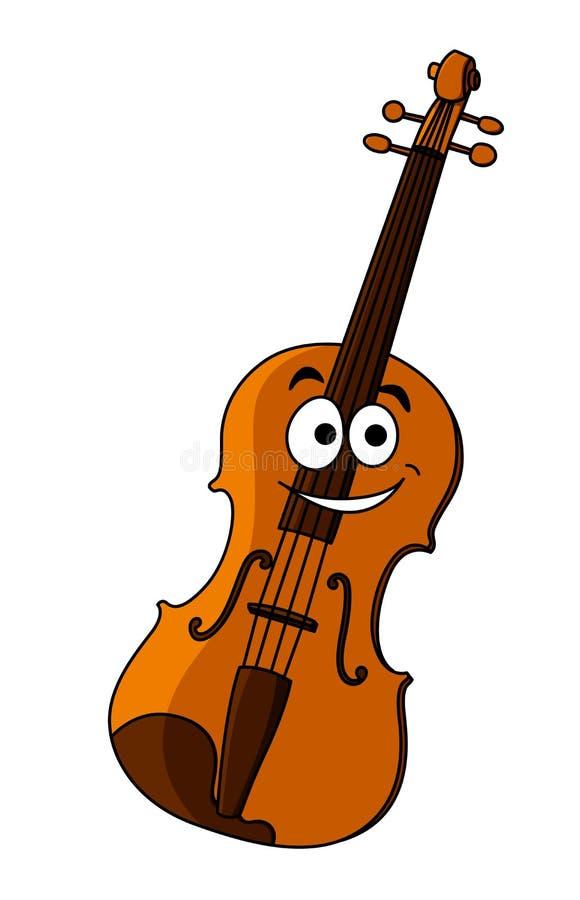 Violino de madeira feliz de sorriso ilustração do vetor
