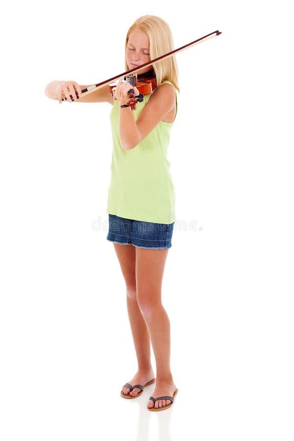Violino do artista do Preteen fotografia de stock