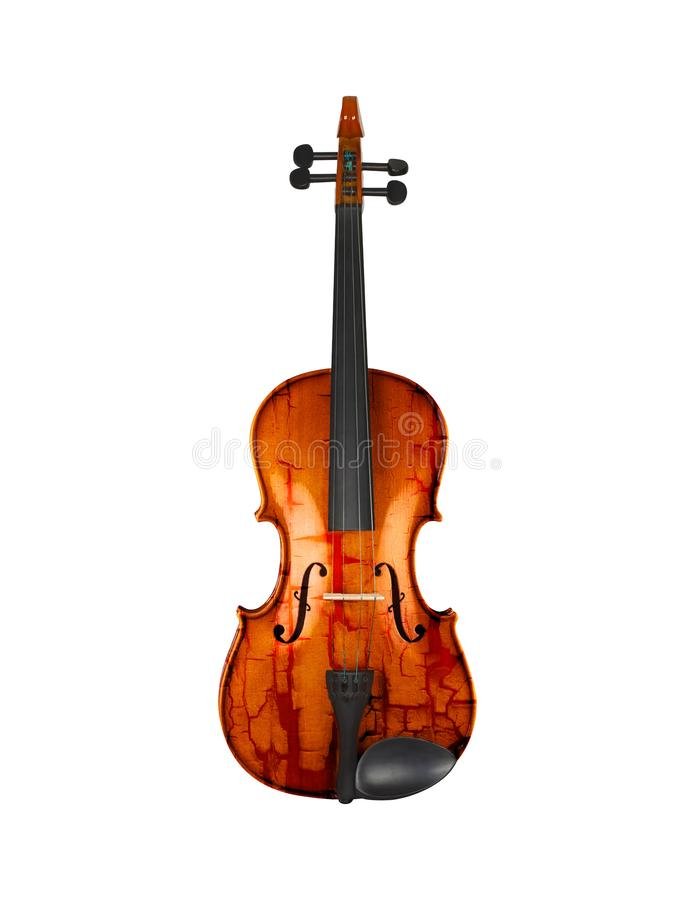 Violino do Grunge isolado no branco fotografia de stock royalty free