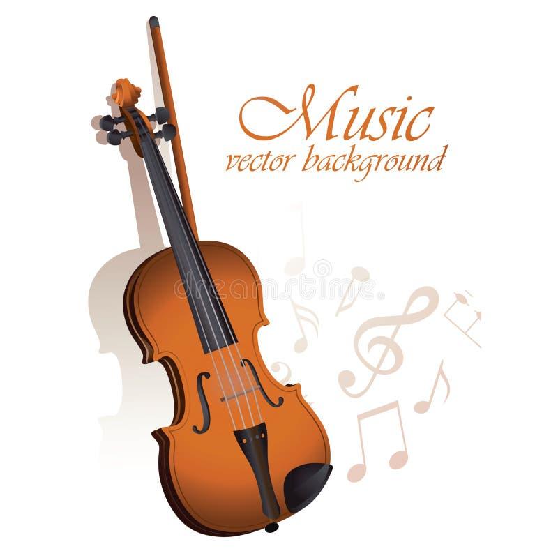 Violino e partitura su un fondo bianco illustrazione di stock