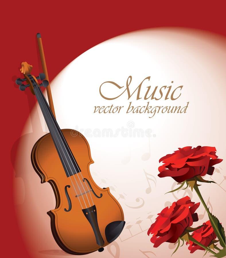 Violino e rose rosse illustrazione vettoriale