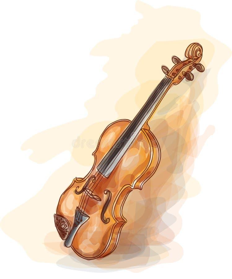 Violino. Estilo de Vatercolor. ilustração stock