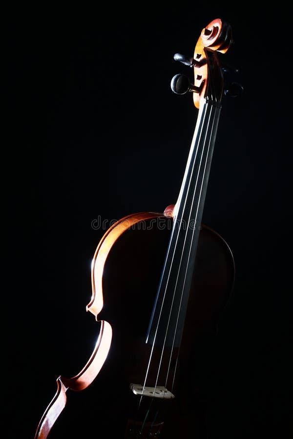 Violino isolato sul nero fotografia stock