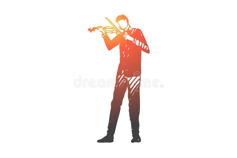 Violino, músico, homem, concerto, conceito do instrumento Vetor isolado tirado mão ilustração stock