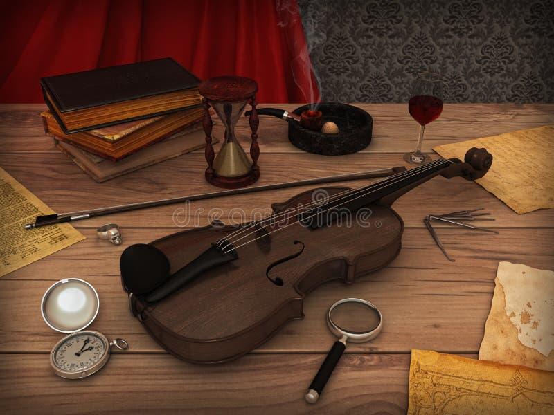Violino na tabela ilustração do vetor