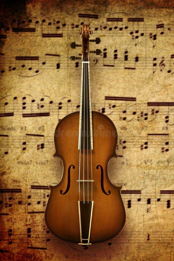 Violino no fundo da nota imagens de stock