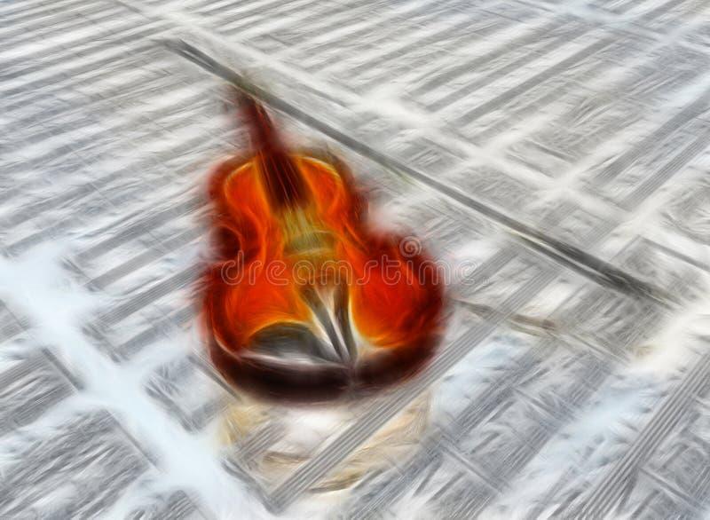 Violino sottratto sul contesto di partitura royalty illustrazione gratis