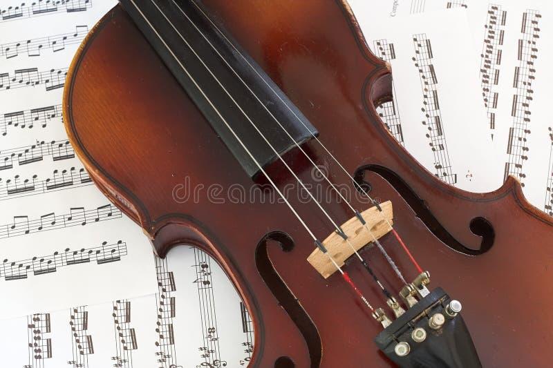 Violino su musica immagine stock