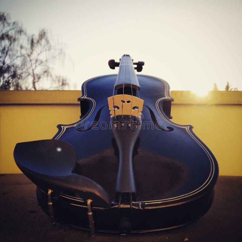 Violino su un balcone fotografia stock libera da diritti