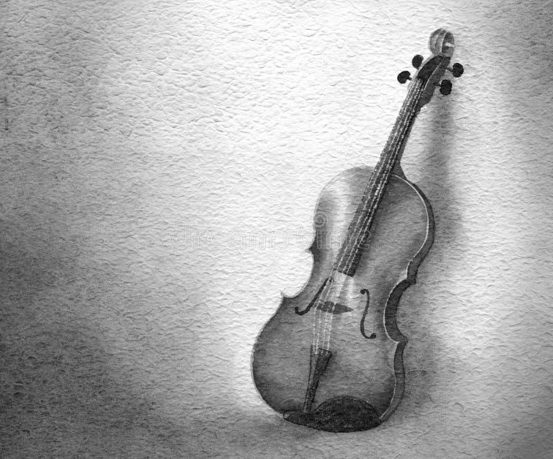 Violino - watercolour do b&w ilustração royalty free