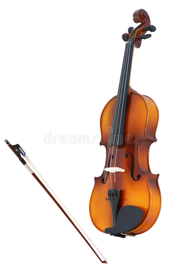 Violins and a fiddlestick. Under the white background stock image