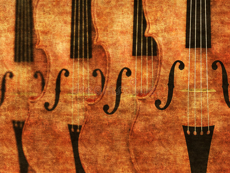 Violins in a row background stock photos