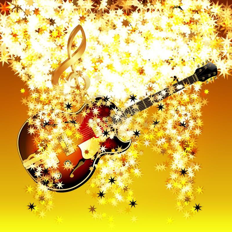 Violinschlüssel in der Wolke von Sternen und von Jazzgitarre stock abbildung